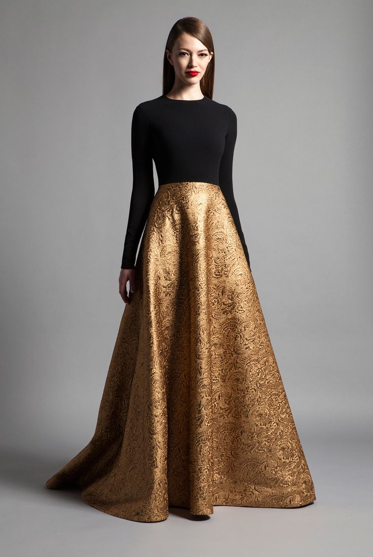 Romona Keveza Luxe RTW Fall 2014 #fashion #couture #black #dress #gold jaglady
