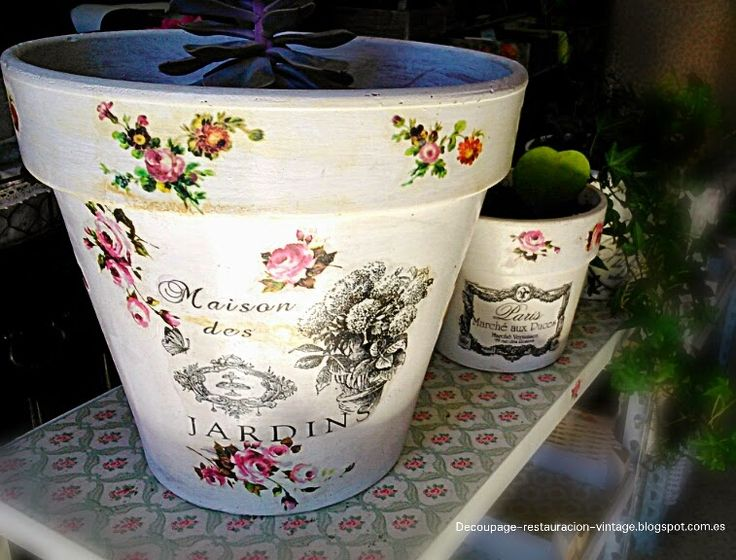 Decoupage, transfer y otras técnicas. Restauración de muebles. Tutoriales DIY y craft ideas.: Ideas de decoración de maceteros.