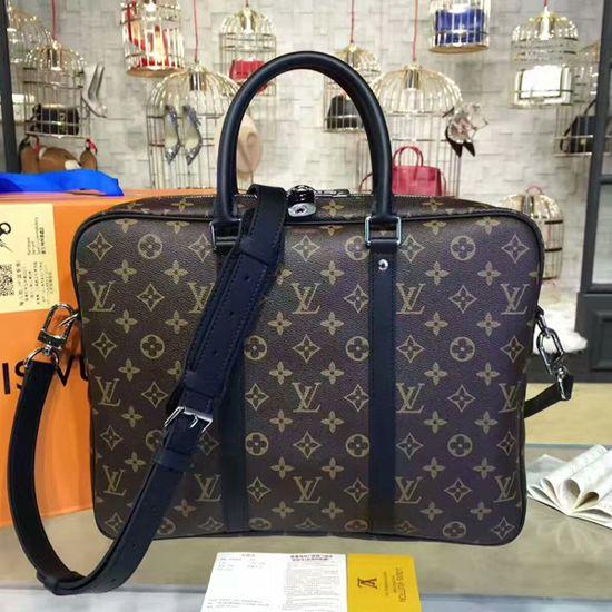 1ad89a38f36f9 Louis Vuitton M52005 Porte-Documents Voyage PM Briefcase Monogram Macassar  Canvas Louis Vuitton Mens Bag