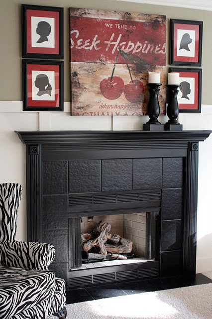 Mantel decoration: Mantels, Idea, Silhouette, Fireplaces Surroundings, Black Fireplaces, Yellow Capes Cod, Families Rooms, Fireplaces Makeovers, Diy Projects