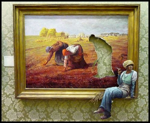 Favourite for many among the Banksy modified oil paintings hidden in the posh part of the museum is Agency Workers in which a peasant labouring in the field of Jean-Francois Millet's The Gleaners has left the plane of the picture and takes a relaxed looking cigarette break.