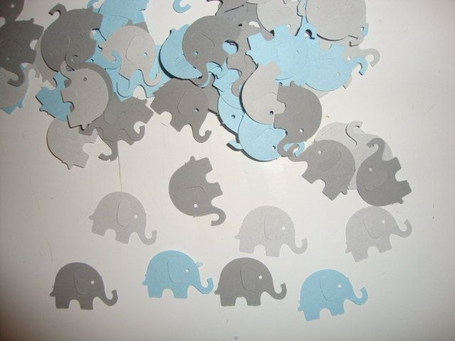 100 Light Blue And Greys Elephants Confetti  Baby Boy Shower  Birthday  Party  Elephant Theme