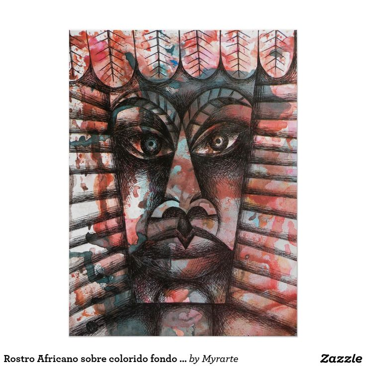 Rostro Africano sobre colorido fondo abstracto. Regalos, Gifts. #poster