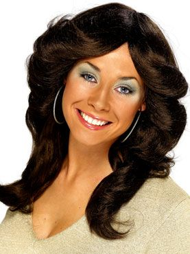 70's Long Wavy Layered Flick Wig Brown by Fancy Dress Ball