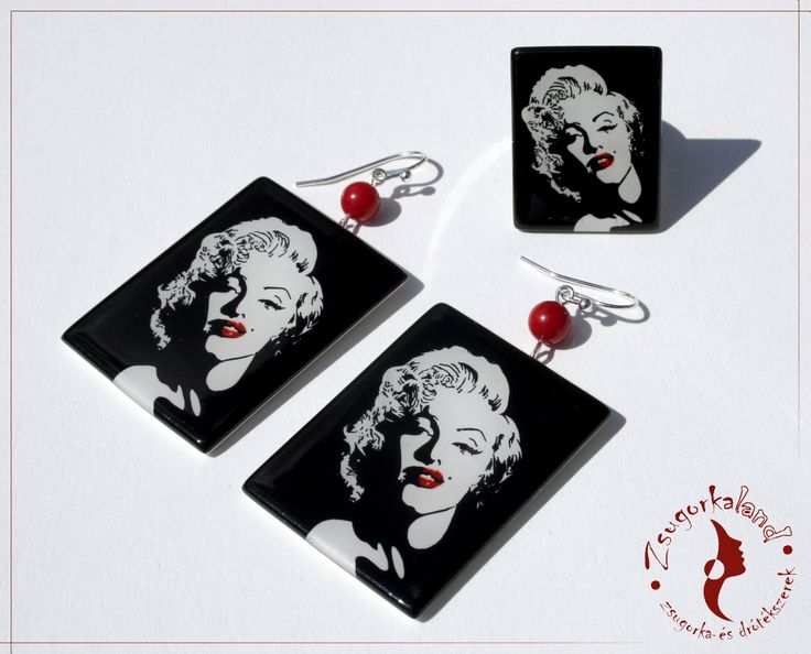 Polyshrink jewelry set with Marilyn Monroe drawings. www.facebook.com/Zsugorkaland