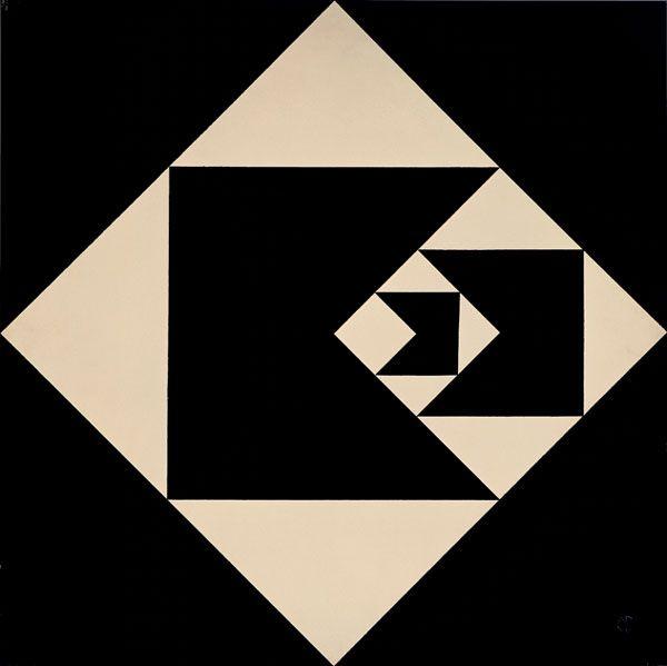 Geraldo de Barros (Brazil), Função diagonal (Diagonal Function), 1952, Lacquer on cardboard