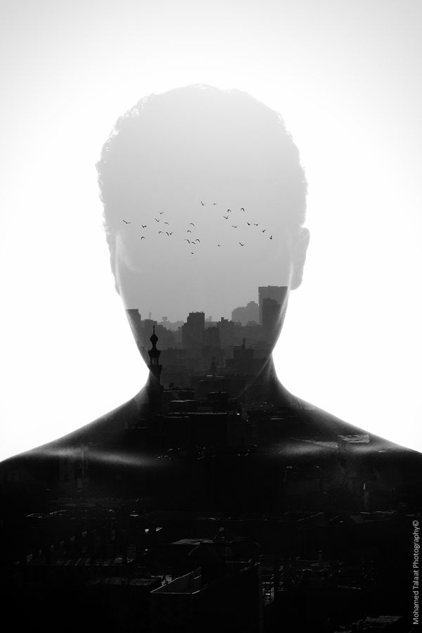 By Mohamed Talaat | double exposed | image | man | thoughts | urban | city | birds | in flight | dreaming | thinking
