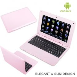 WolVol (Solid Pink) New Model 10-inch Mini Laptop with Charger and Mouse (VIA 8850 1.2GHz, 512MB RAM, 4GB HD, Wi-Fi, Webcam, Netflix, Android 4.0)
