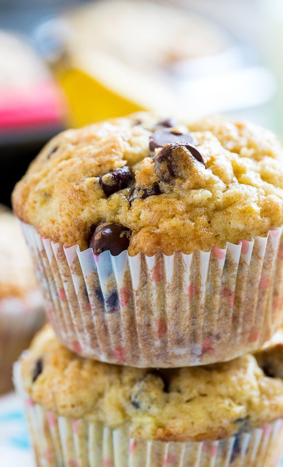 Banana Chocolate Chip Muffins - Moist and have just the right amount of sweetness.