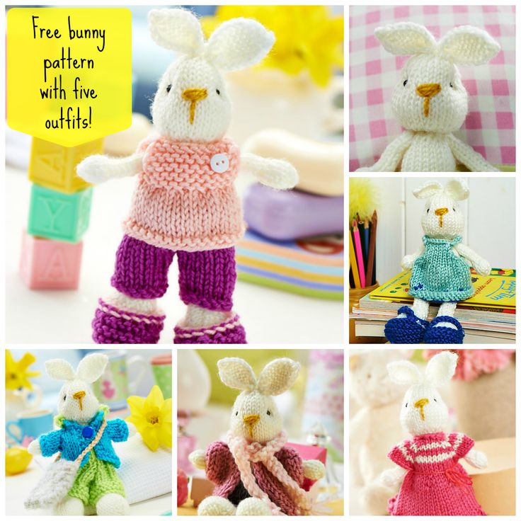 Free knitting pattern for Bramble bunny and five different outfits