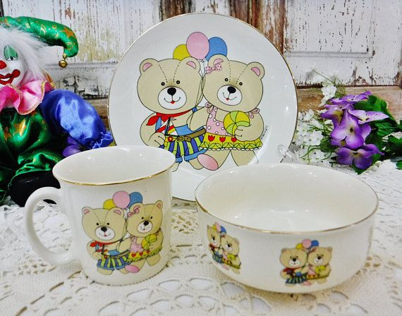 Vintage Children S Dish Set Plate Bowl Mug W Teddy Bears Etsy Mug Decorating Childrens Dishes Vintage Children