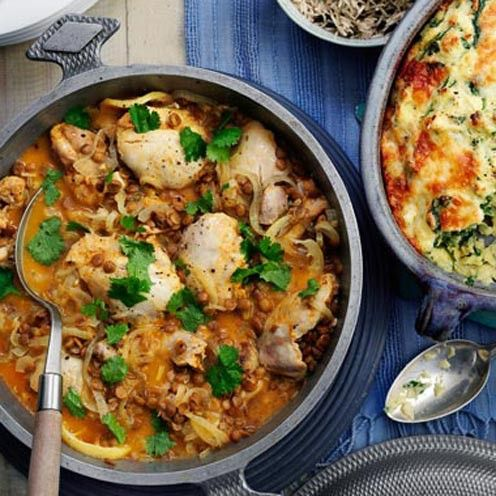 This Moroccan chicken casserole is delicious and gluten-free. Buy the best chicken thighs you can afford to give this dish great flavour.
