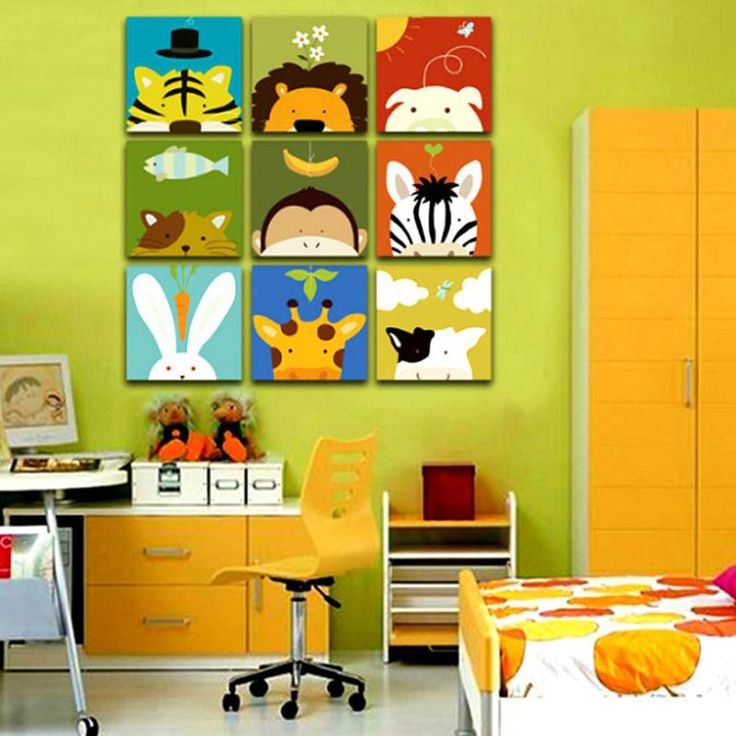 pas cher sans cadre 3 panneau animal combinaison de famille de bande dessin e moderne mur. Black Bedroom Furniture Sets. Home Design Ideas