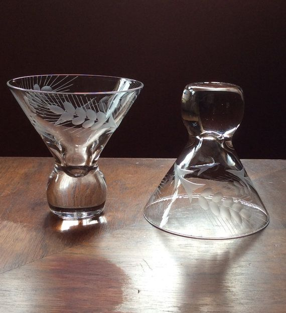 Vintage Martini Glasses Stemless Set of 2 Etched by WhamboVintage