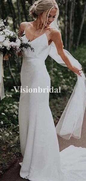 Charming Casual Spaghetti Straps Wedding Dresses, Sheath Wedding Dresses, VB0269…