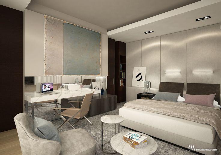 Projekt sypialni w stylu klasycznym z łóżkiem firmy Restoration Hardware, fotelem Leslie firmy Minotti oraz lampą Oda Small  firmy Pulpo