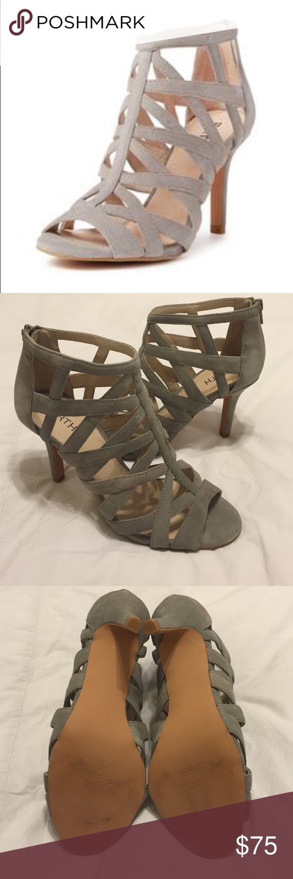 "FIRTH Callie cage heel sandal, light grey size 7.5 NWOT Beautiful, sexy sandals. Never worn. Great with dresses and jeans. Color is a soft dove grey and lined in a beige leather. Zipper closure in back, heel height is about 3 1/4"". There are couple of minor scuffs from trying on, see last photo. Reasonable offers welcome. Firth Shoes Heels"