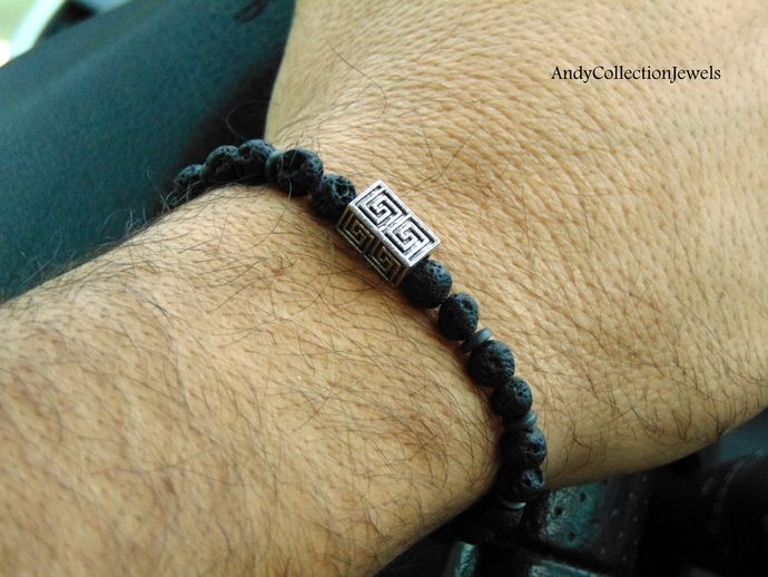 Lava men's stretchy bracelet Men hematite bracelet Silver tone maze bracelet Gift for him jewelry Boyfriend gift Sun gift Father's Day gift by AndyCollectionJewels, $10.90 EUR