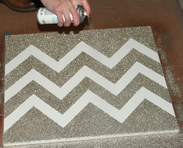 Penny Pincher Fashion: DIY Glittered Chevron Art