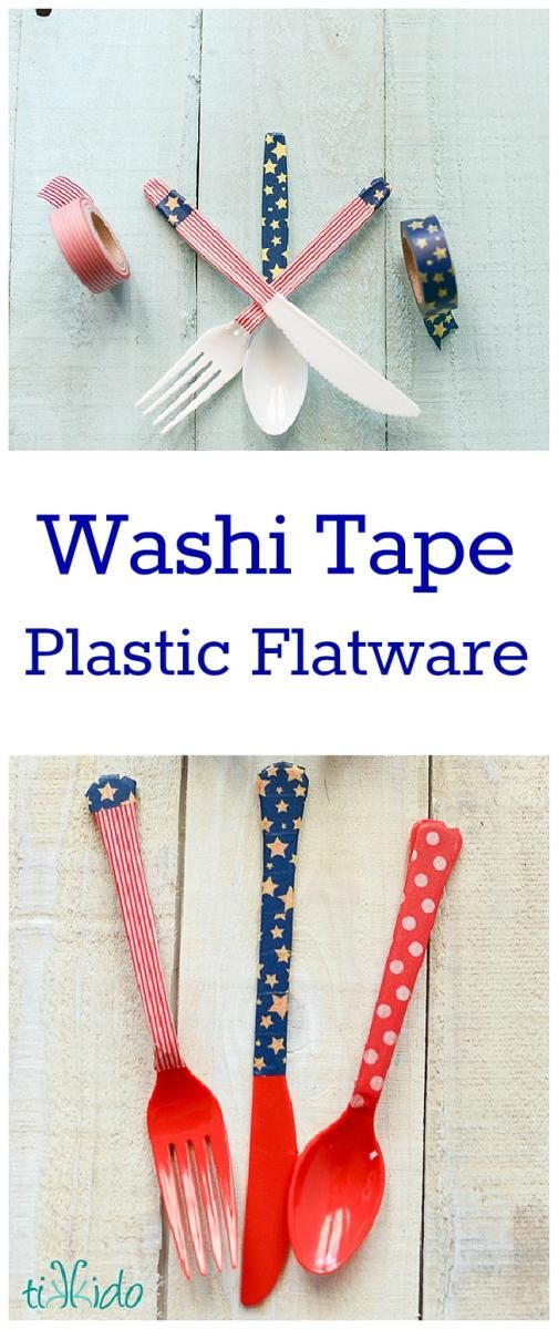 Tutorial for dressing up plastic silverware for any occasion quickly and easily using washi tape.
