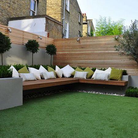 modern built in garden benches