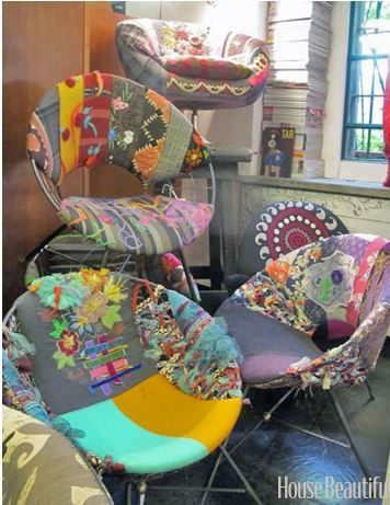 Upcycle-This: Patchwork Furniture  I would like to have these for our waitingroom!
