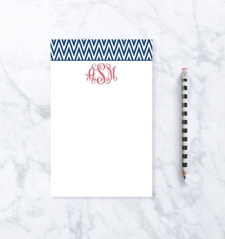 Personalized Stationery - Chevron Monogram Notepad
