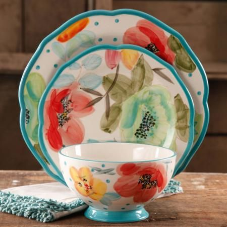 Is this not the cutest dinnerware ever??? // The Pioneer Woman Vintage Bloom 12-Piece Decorated Dinnerware Set