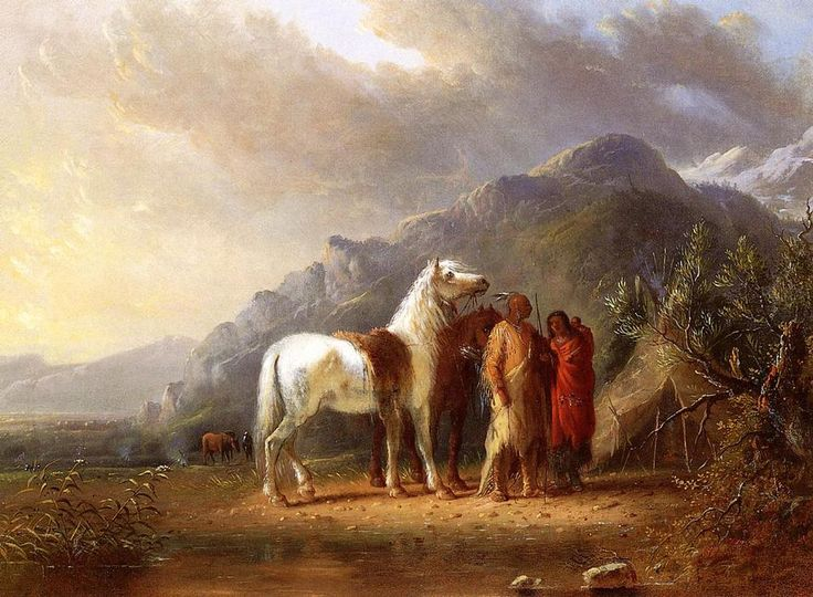 'Sioux Camp', Oil On Canvas by Alfred Jacob Miller (1810-1874, United States)