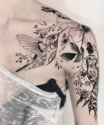 Image result for hummingbird sleeve tattoo