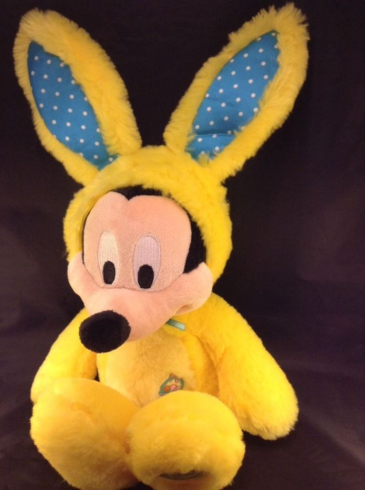 """Mickey Mouse Easter Bunny 17"""" Yellow Disney Store Patch Rabbit Marshmallow  