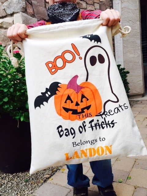 Our personalized drawstring trick or treat bags are a favorite with all the…