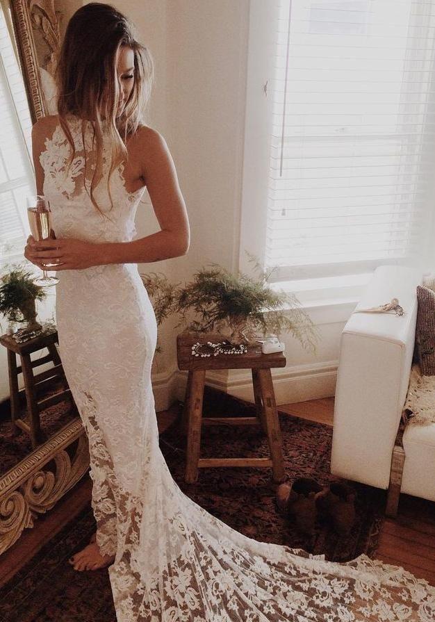 Simple Sleeveless Long Ivory Lace Halter Mermaid Sleeveless Wedding Dresses UK PH338