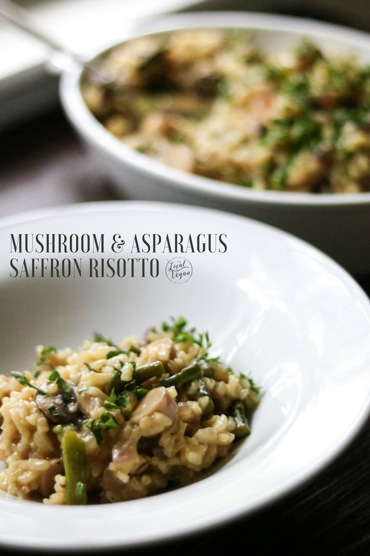Mushroom and Asparagus Saffron Risotto - Healthy #Vegan Lunch / Dinner Recipes - #plantbased #cleaneating