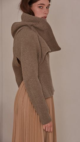 Cecil Sweater, a knit sweater in beige. Rollback collar with pointed wide cowl…