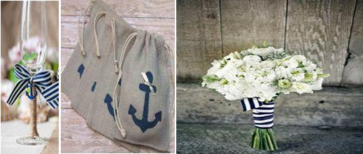 Love Boat Εκκλησία: Το ποτήρι του ζευγαριού μπορεί να στολιστεί με σπάγγο και ένα λευκό-μπλέ φιογκάκι ενώ ταυτόχρονα η νυφική ανθοδέσμη με μια απλή ριγέ κορδέλα θα συνδυαστεί στη στιγμή με το θέμα του γάμου σας! Για το ρύζι σας προτείνουμε πουγγάκια από λινάτσα με ναυτικές λεπτομέρειες!