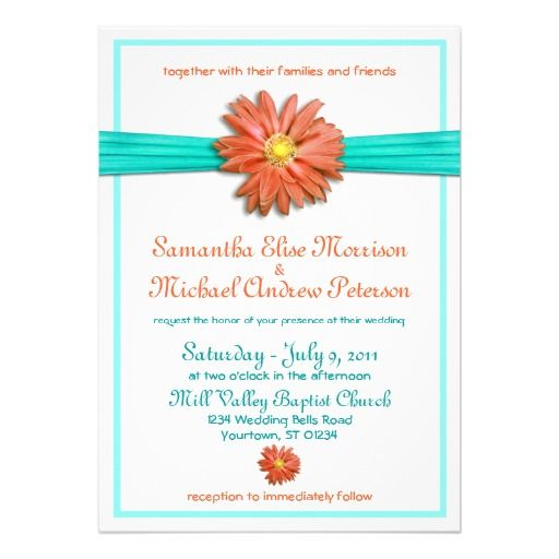 coral teal gerbera daisy wedding invitation - Daisy Wedding Invitations