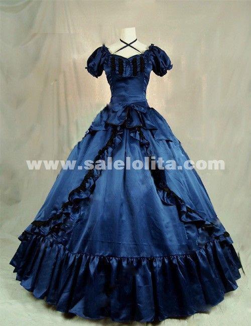 2016 Elegant Dark Blue Short Sleeve Vintage Renaisance Gothic Victorian Ball Gowns