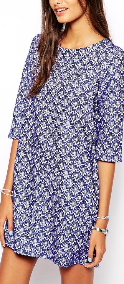 print shift dress