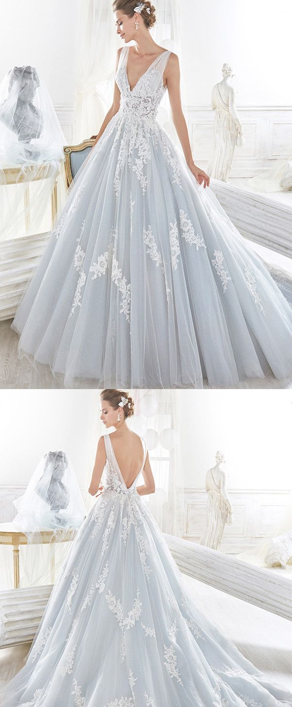 NEW! Romantic Tulle V-neck Neckline Natural Waistline A-line Wedding Dress With Lace Appliques & Beadings