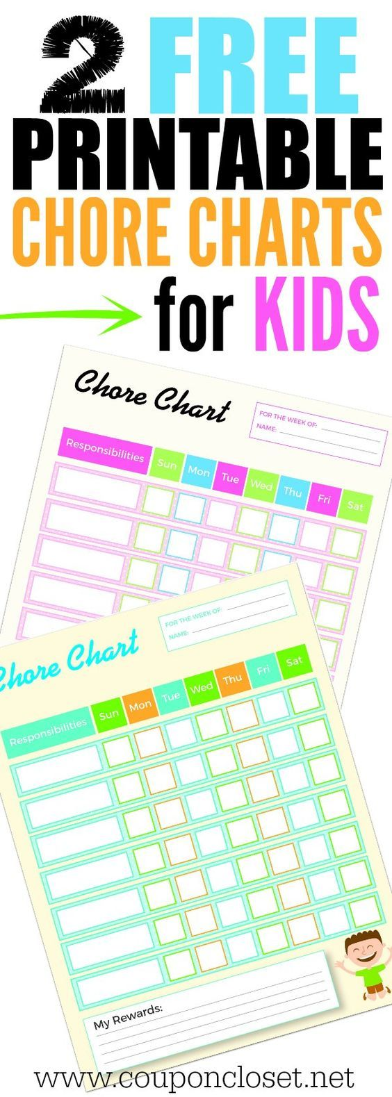 Need an easy way to motivate your kids to do chores? Here are 2 FREE Printable Chore Charts for Kids. I have also included a list of household chores for kids to help you get started. Download the printable weekly chore charts for kids today.