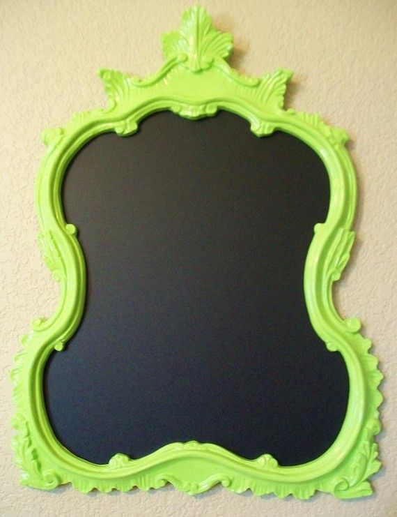 Could totally take a vintage/old mirror, paint the frame neon + make the mirrored part chalkboard!