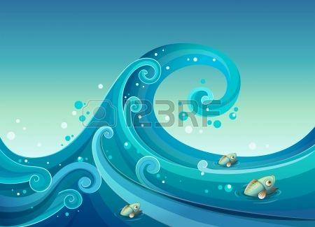 Illustrazione di una grande onda in mare con pesci Archivio Fotografico