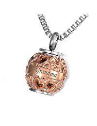 """Housweety funéraire Jewelry """"Grandma"""" Always in My Heart Perle Cœur creux collier avec pendentif Urne funéraire Souvenir des cendres"""