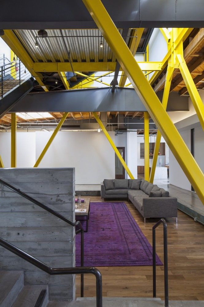 Framestore LA / DHD Architecture and Design. I like how they used the structure to make a statement with the yellow