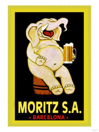 Vintage Barcelona Spanish Moritz Beer Ad, Laughing Elephant Drinking from Beer Mug. Funny Vintage art Reproduction available as Giclee Paper Print, Rolled Canvas, Mounted Canvas, and Wood Signs.  **Please note: additional images are shown as an...