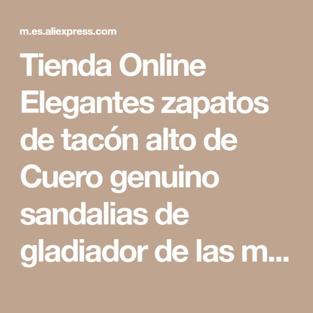 Tienda Online Elegantes zapatos de tacón alto de Cuero genuino sandalias de gladiador de las mujeres zapatos de mujer de verano zapatos de las señoras | Aliexpress móvil