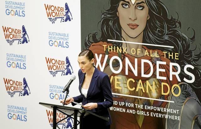 Ihmenaista näytellyt Gal Gadot puhui YK:n kampanja-avauksessa lokakuussa.