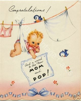 Vintage Greeting Cards New Baby