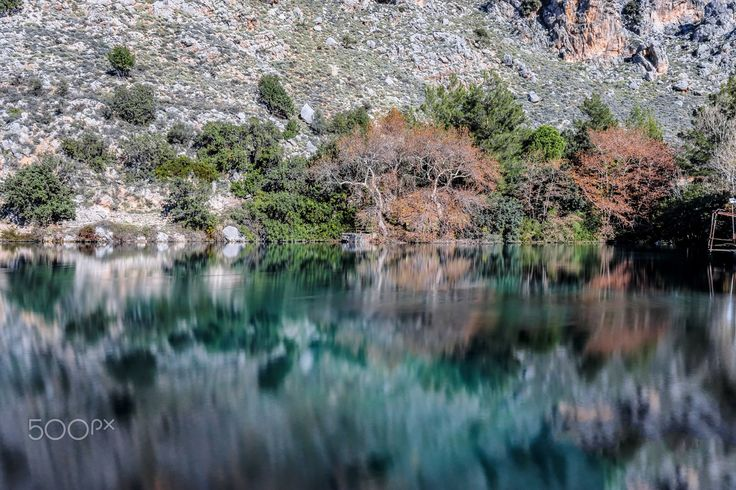 reflections .. - Reflections at the  lake of Zaros village.